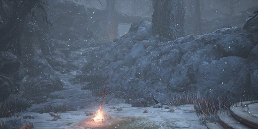 Snowy Mountain Pass Bonfire Image